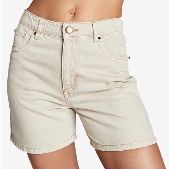 Cotton On High Rise Miley Denim Shorts Size 8 Tan